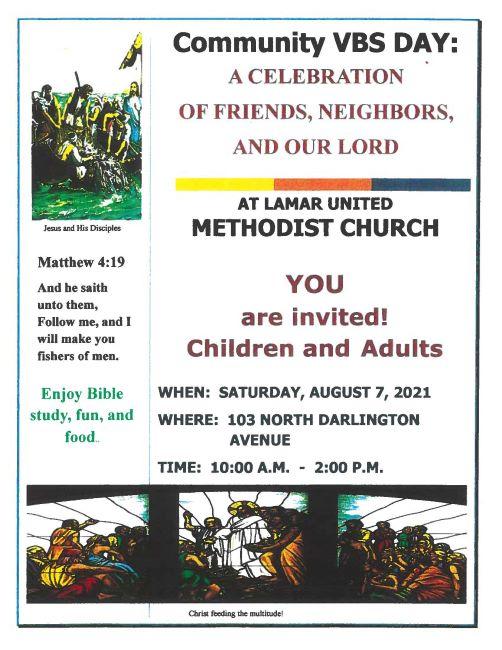 Lamar UMC Community VBS Day (August 7 2021)